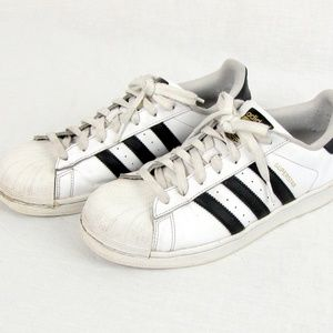 Adidas Men's White Black Stripe Superstar Sneakers